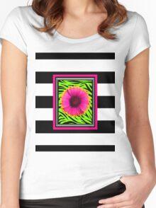 Pink & Green Wild Child Flower Women's Fitted Scoop T-Shirt