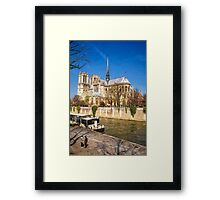 Notre Dame and the Seine Painterly Framed Print