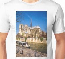 Notre Dame and the Seine Painterly Unisex T-Shirt