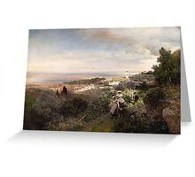Oswald Achenbach, THE FOOTPATH FROM ARICCIA TO ALBANO WITH VIEW ON THE ROMAN CAMPAGNA Greeting Card
