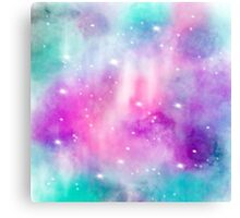Trendy bright watercolor pastel nebula space hand painted Canvas Print
