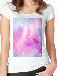 Trendy bright watercolor pastel nebula space hand painted Women's Fitted Scoop T-Shirt