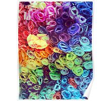 Rainbow Paper Roses Poster
