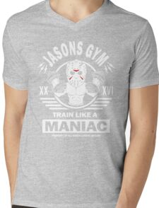 Jasons Gym, Train Like A Maniac Mens V-Neck T-Shirt