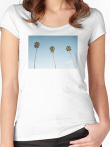 Summer palm trees Blue Women's Fitted Scoop T-Shirt