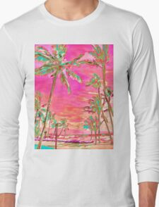 Vintage Hawaiian Beach Scene, Hot Pink Long Sleeve T-Shirt
