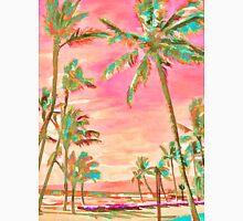 Vintage Hawaiian Beach Scene, Pink Unisex T-Shirt