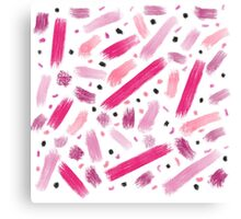 Modern pink ombre abstract brushstrokes pattern  Canvas Print