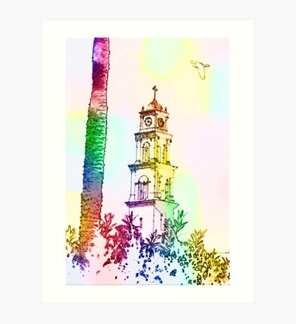 Computer Generated Israel, Jaffa, the belfry of the St Peter church and Monastery Art Print