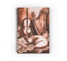 MUSICAL CAT AND OWL  Brown Sepia White Spiral Notebook
