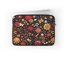 Japanese Garden - Red, Gold and Rust on Black Laptop Sleeve