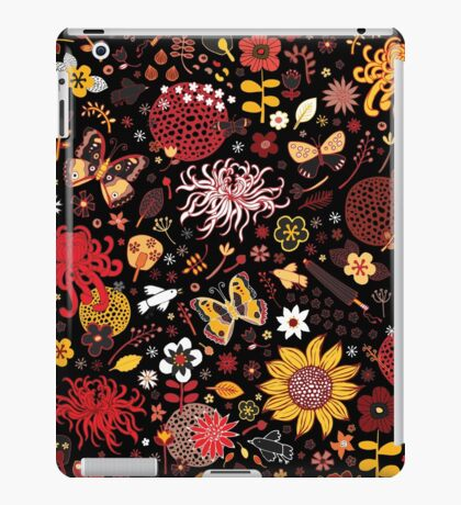 Japanese Garden - Red, Gold and Rust on Black iPad Case/Skin