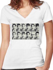 Exo School boys Women's Fitted V-Neck T-Shirt