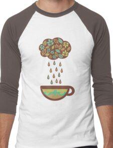 Retro raining tea leaves teacup Men's Baseball ¾ T-Shirt