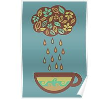 Retro raining tea leaves teacup Poster