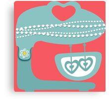 Girly baking stand mixer hearts pearls Canvas Print
