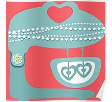 Girly baking stand mixer hearts pearls Poster