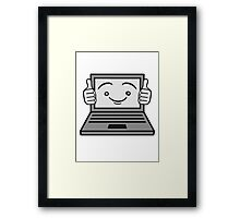face funny thumbs hand press good best comic cartoon computer laptop notebook pc write screen mobile tablet Framed Print