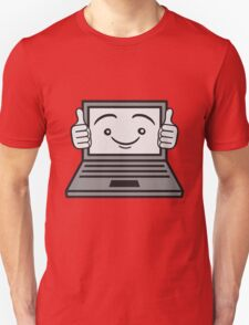 face funny thumbs hand press good best comic cartoon computer laptop notebook pc write screen mobile tablet Unisex T-Shirt