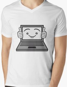 face funny thumbs hand press good best comic cartoon computer laptop notebook pc write screen mobile tablet Mens V-Neck T-Shirt