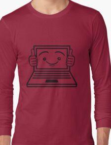 face funny thumbs hand press good best comic cartoon computer laptop notebook pc write screen mobile tablet Long Sleeve T-Shirt