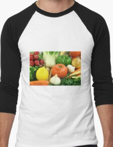 Vegetables, Fruits, Ingradients and Spices  Men's Baseball ¾ T-Shirt