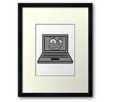 face, comic cartoon grin computer laptop notebook pc write screen mobile tablet Framed Print