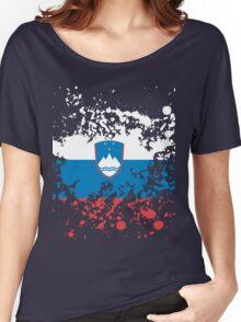 Slovenia Flag Ink Splatter Women's Relaxed Fit T-Shirt