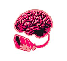 Connecting thinking brain power plug electronically smart electro funny cyborg socket extension pink female woman Photographic Print