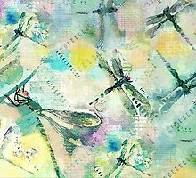 Dragonflies - Greenish by Betsy  Seeton