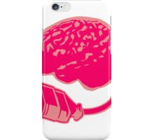 Connecting thinking brain power plug electronically smart electro funny cyborg socket extension pink female woman iPhone Case/Skin