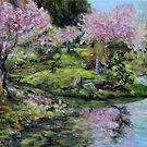 Cherry Blossoms Mayne Island Japanese Garden by TerrillWelch