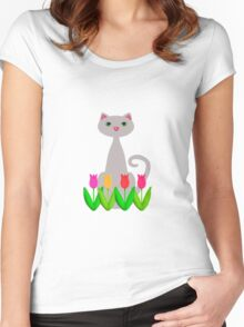Gray Cat Spring Tulip Flowers Women's Fitted Scoop T-Shirt