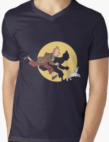 Tintin & Snowy Mens V-Neck T-Shirt