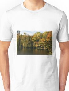 Tress  in Fall colours around the lake and their reflection in the water.  Unisex T-Shirt