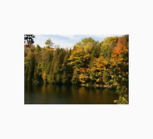 Tress  in Fall colours around the lake and their reflection in the water.  T-Shirt