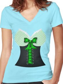 St patricks day vintage Irish traditional leprechaun corset  Women's Fitted V-Neck T-Shirt