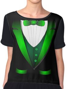 leprechaun suit st patricks day green Irish tuxedo Chiffon Top