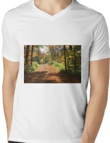 Fall mountain forest road.  Mens V-Neck T-Shirt