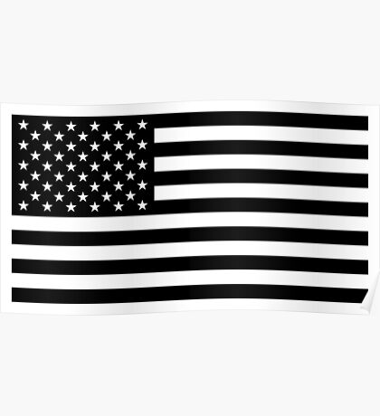 American Flag - Black and White Version Poster
