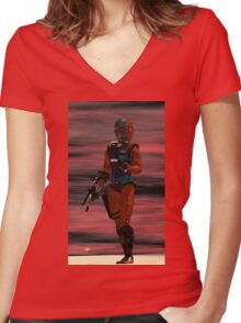 ARES CYBORG FROM HYPERION WORLD Sci-Fi Movie Women's Fitted V-Neck T-Shirt