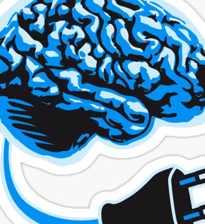 power plug connector think brain electronically clever electro funny cyborg Sticker