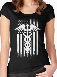 Nurses Caduceus Vintage Flag Women's Fitted Scoop T-Shirt