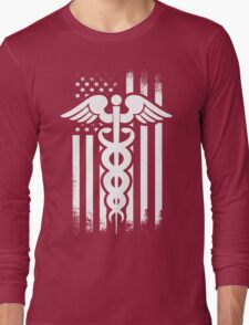 Nurses Caduceus Vintage Flag Long Sleeve T-Shirt