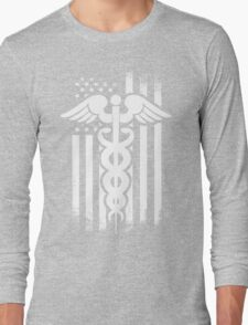 Nurses Caduceus Vintage Flag Long Sleeve T-Shirt