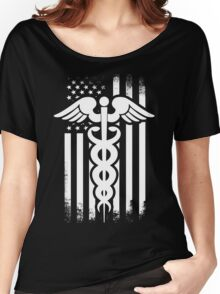 Nurses Caduceus Vintage Flag Women's Relaxed Fit T-Shirt