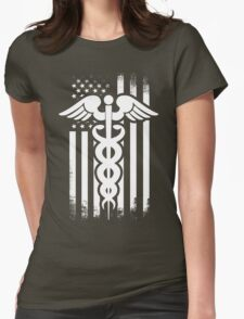 Nurses Caduceus Vintage Flag Womens Fitted T-Shirt