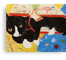 George Myrick - Christmas Bag Cat Canvas Print