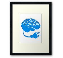 power plug connector think brain electronically clever electro funny cyborg Framed Print