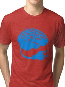 power plug connector think brain electronically clever electro funny cyborg Tri-blend T-Shirt